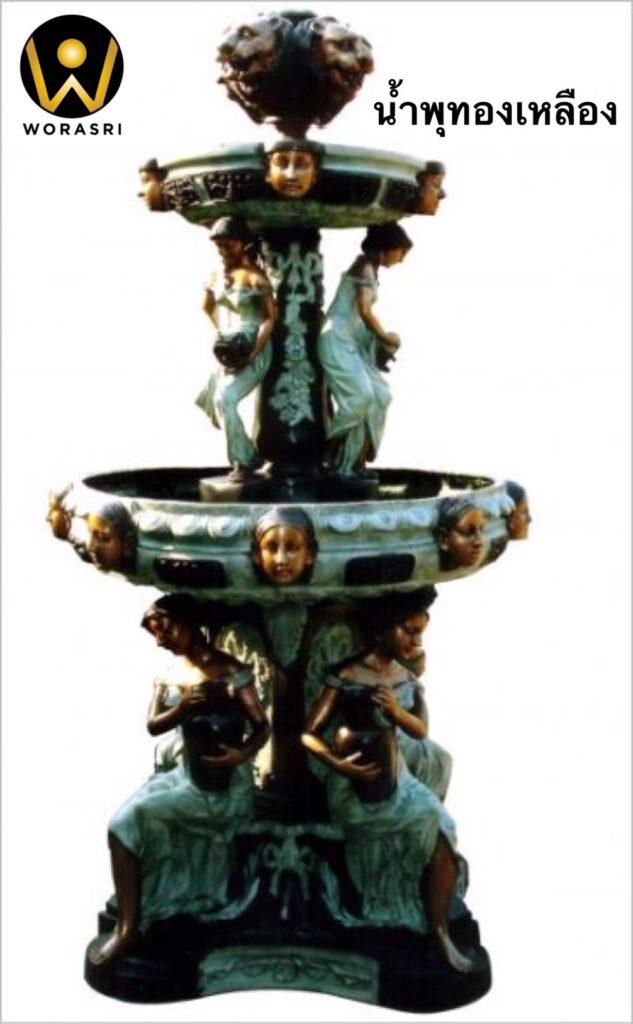 น้ำพุทองเหลืองรูปปั้นผู้หญิงกรีกโรมัน