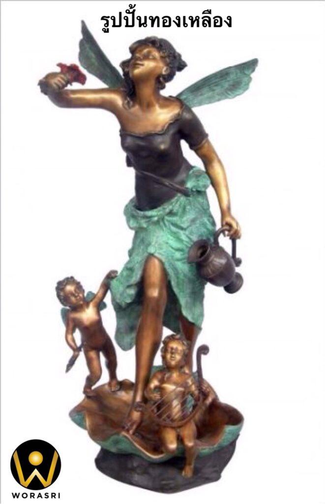 รูปปั้นทองเหลือง สไตล์โรมันรมดำนางฟ้า