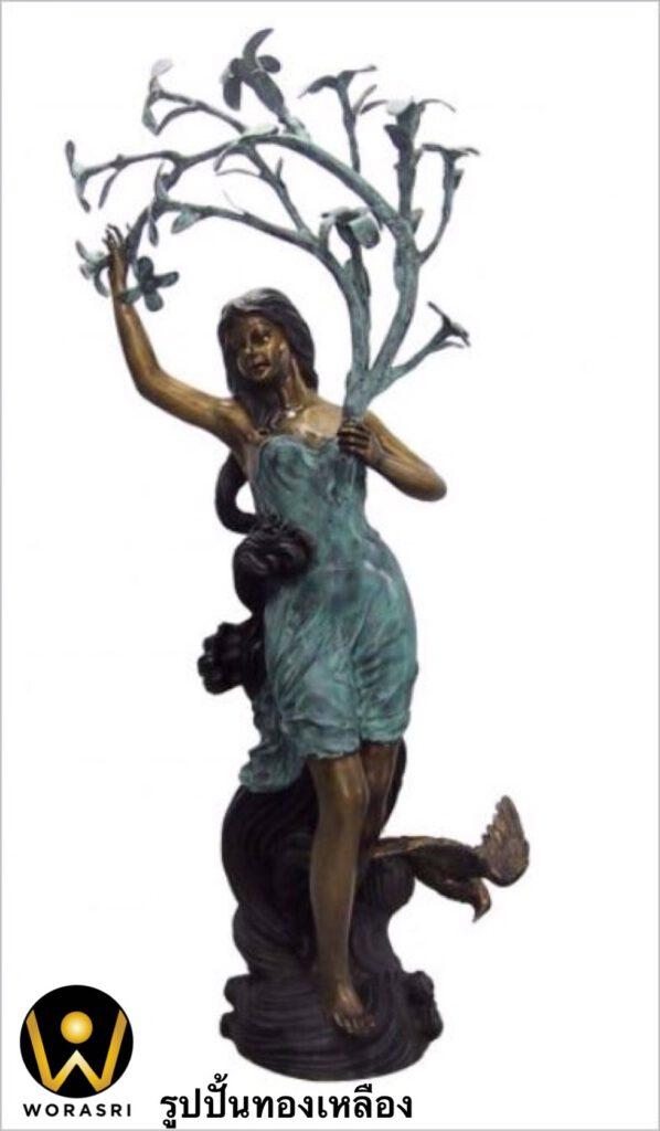 รูปปั้นทองเหลือง สไตล์โรมันรมดำเขียวผู้หญิงกิ่งต้นไม้